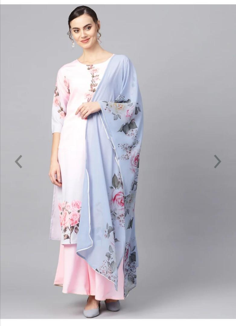 Ahalyaa Pastel Pink Floral Print Kurta with Sharara & Dupatta, Product Code: 10720548