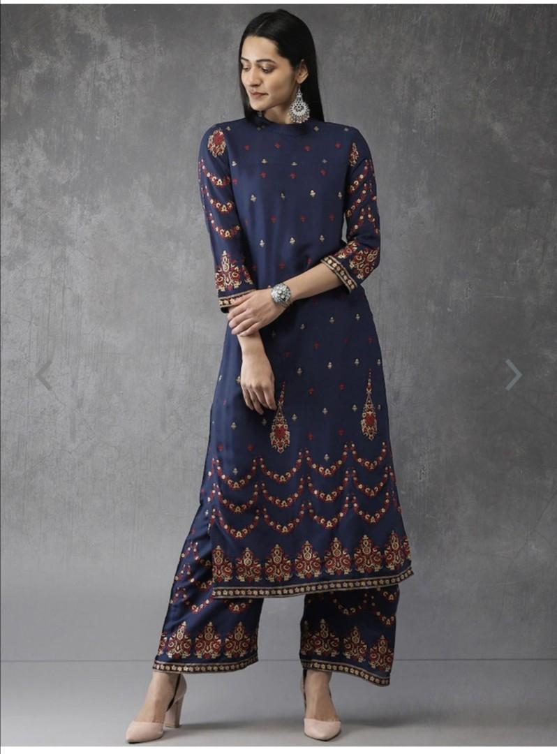 Anouk Women Navy Blue Printed Kurta with Palazzos, Product Code: 9186505