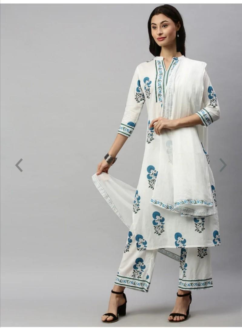 Aprique FAB Women White & Blue Printed Kurta with Trousers & Dupatta, Product Code: 12647874