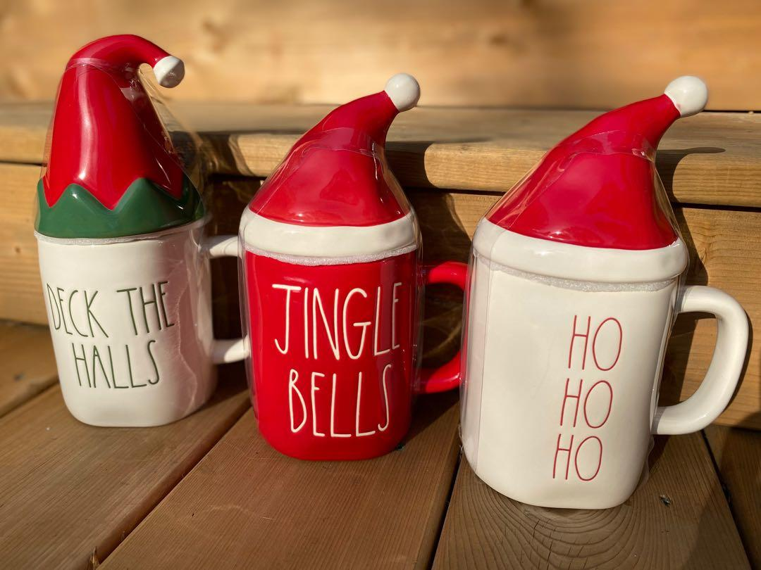 Brand New Rae Dunn Holiday mugs with toppers