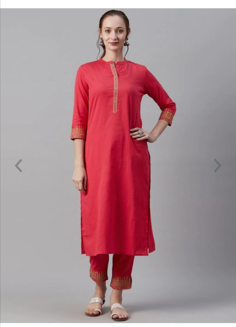 Cayman Women Fuchsia Solid Kurta with Trousers, Product Code: 12654498