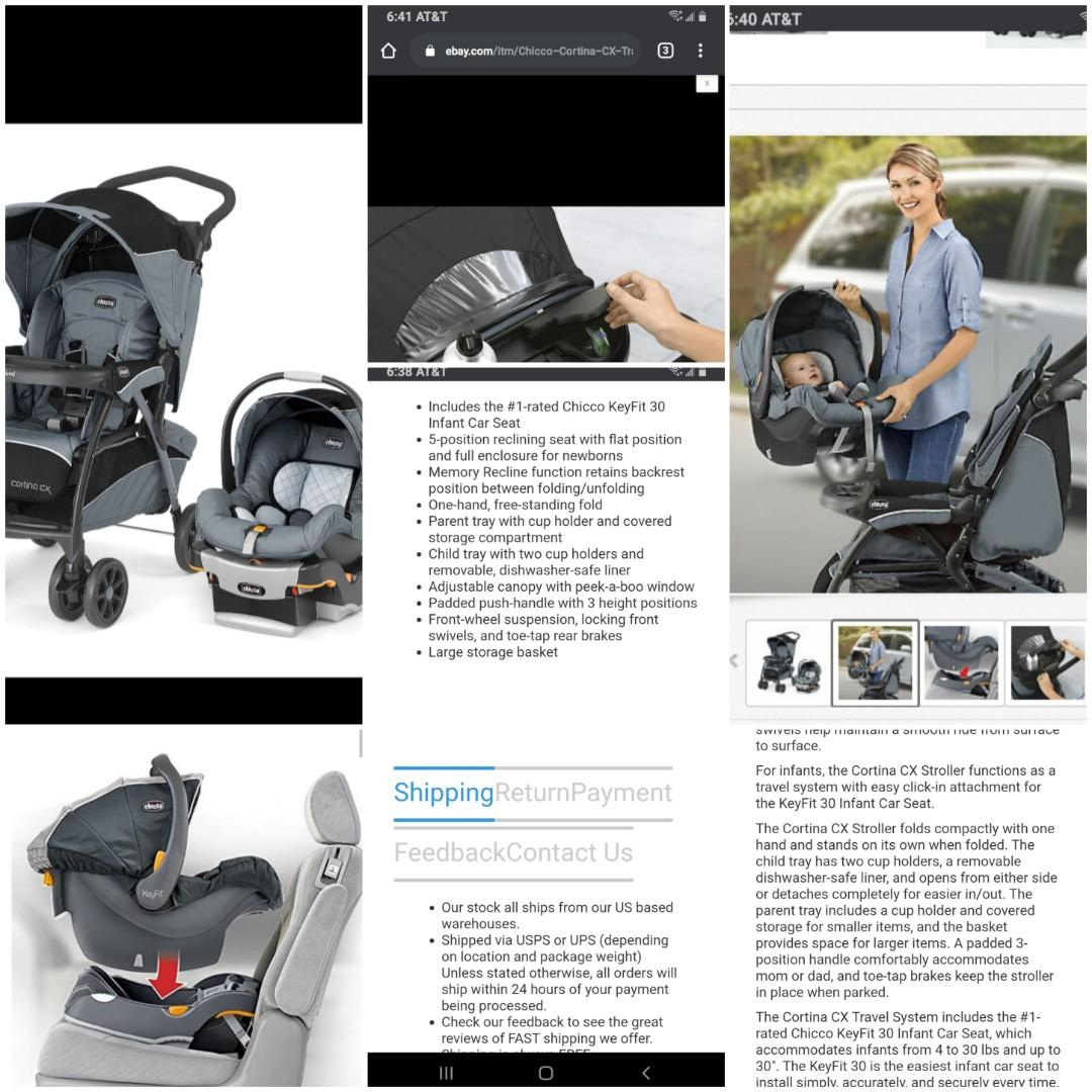 Chicco key fit carseat with base and Cortina stroller