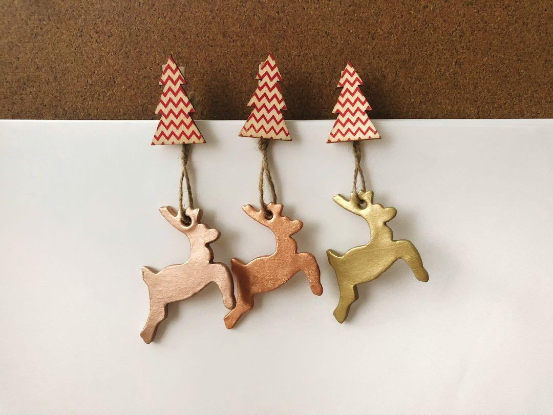 Christmas Tree Ornaments Rustic Reindeer In Metallic Gold Copper Rose Gold Design Craft Handmade Craft On Carousell