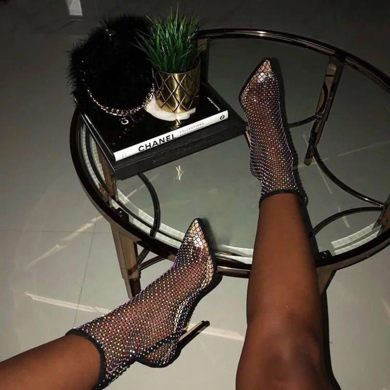 Fishnet Point toe boots
