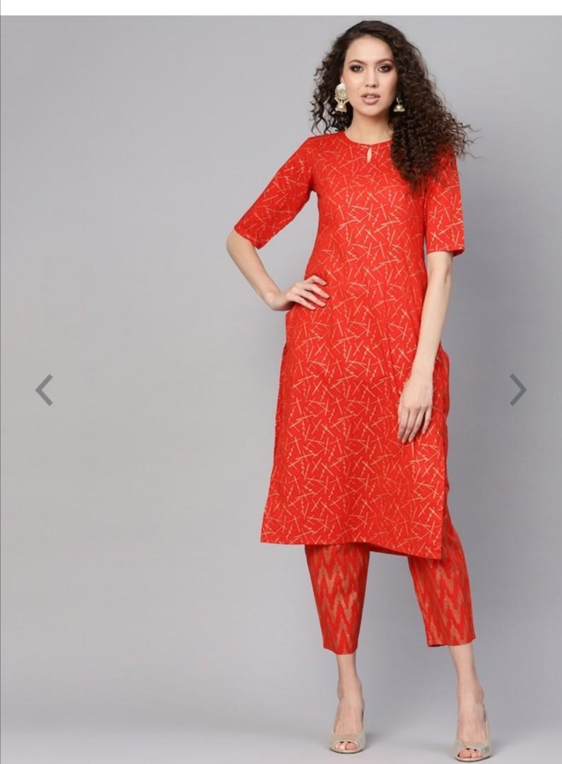 GERUA Women Red & Golden Block Print Kurta with Trousers, Product Code: 10520868
