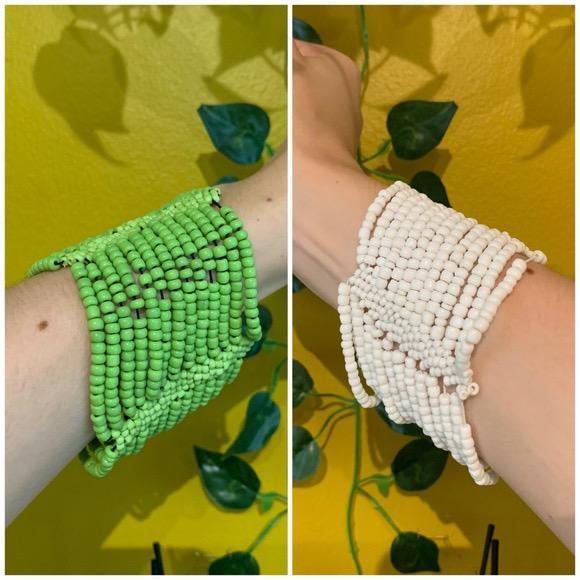 green and white beaded bangles/bracelets