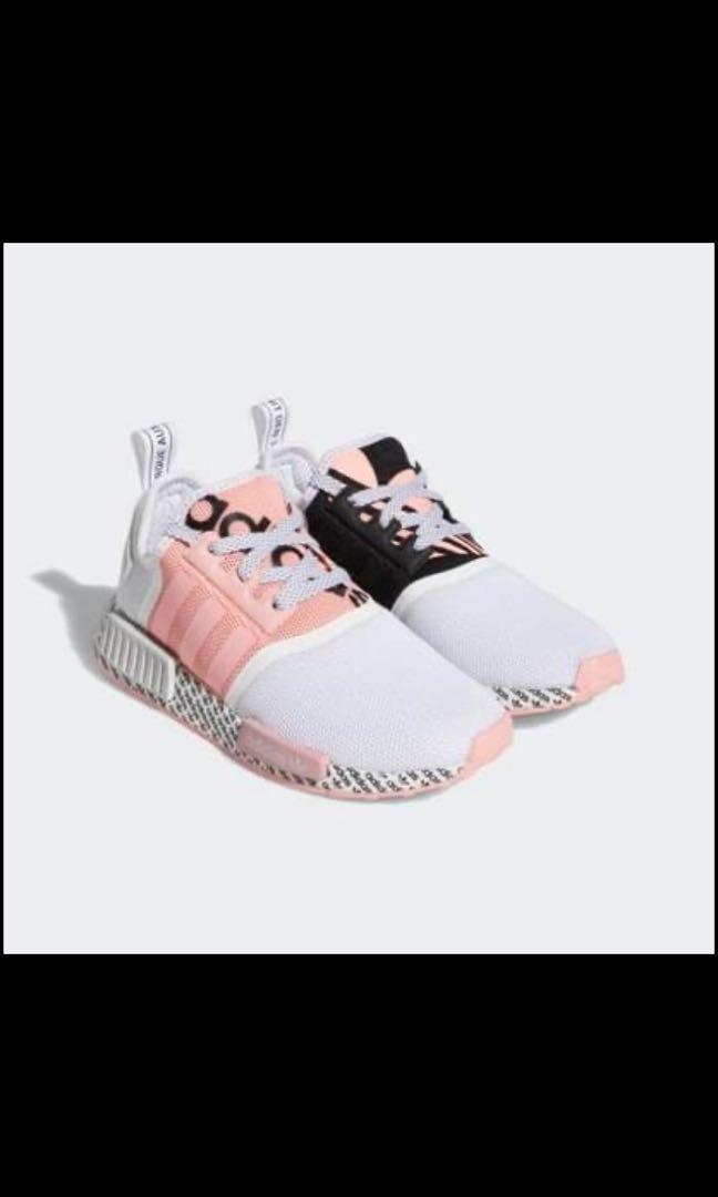 NMD_r1's pink and black size 4Y