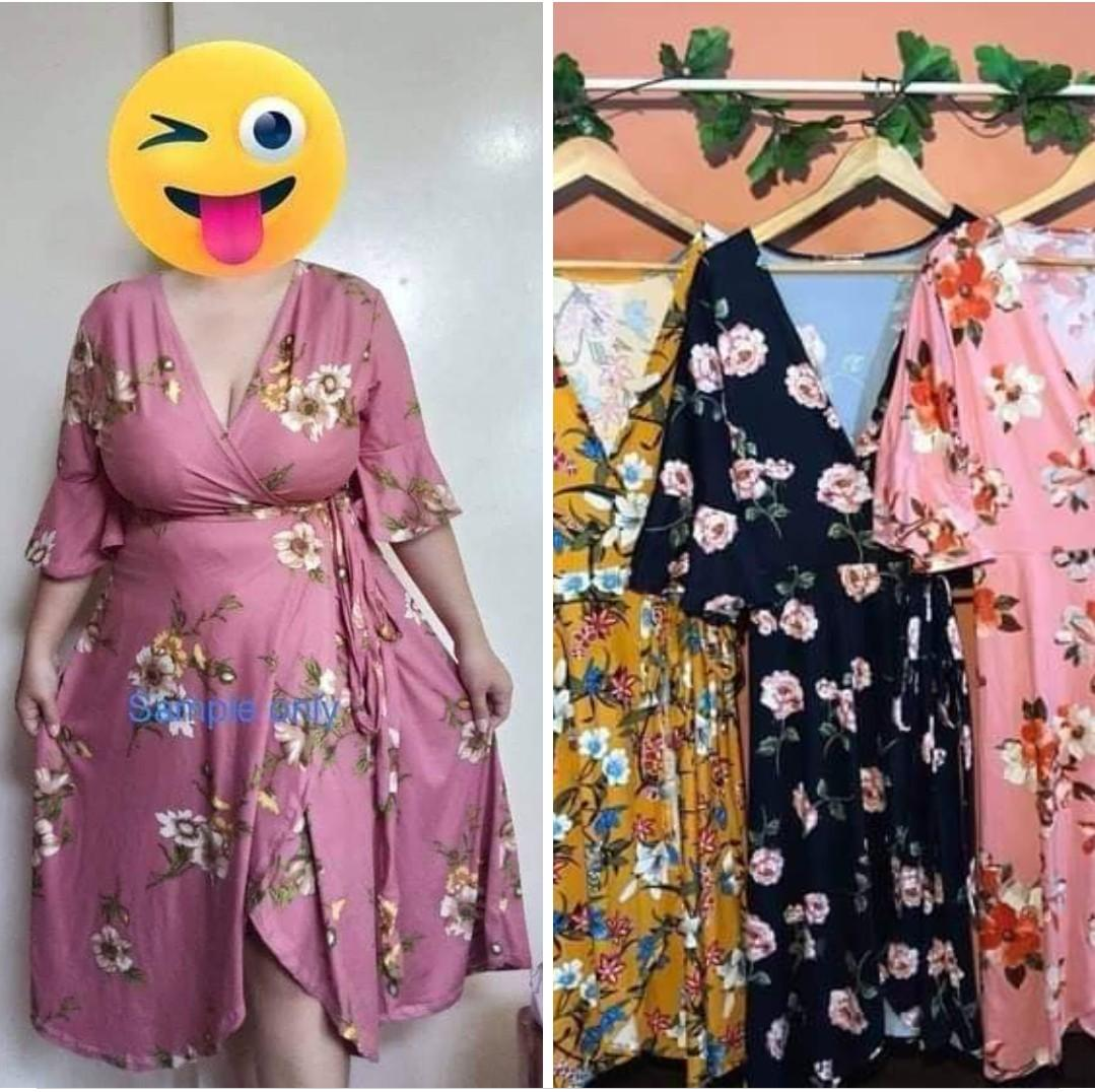 Restock Best Seller Plus Size Floral Bell Sleeves Wrap Dress Fs Stretch Loose Style Fits Xl 4xl Best Fit 32 40 W Women S Fashion Clothes Dresses Skirts On Carousell