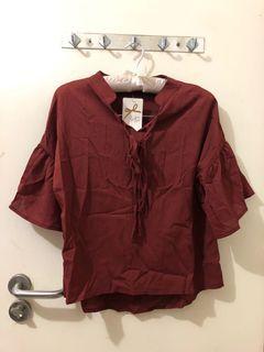 全新雪紡磚紅色女裝上衣