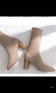 韓國杏色奶茶色襪套高跟鞋