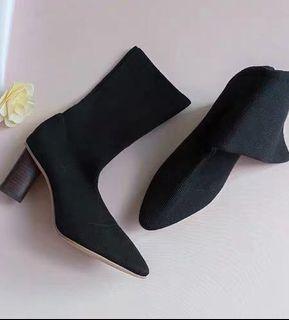 韓國黑色襪套高跟鞋