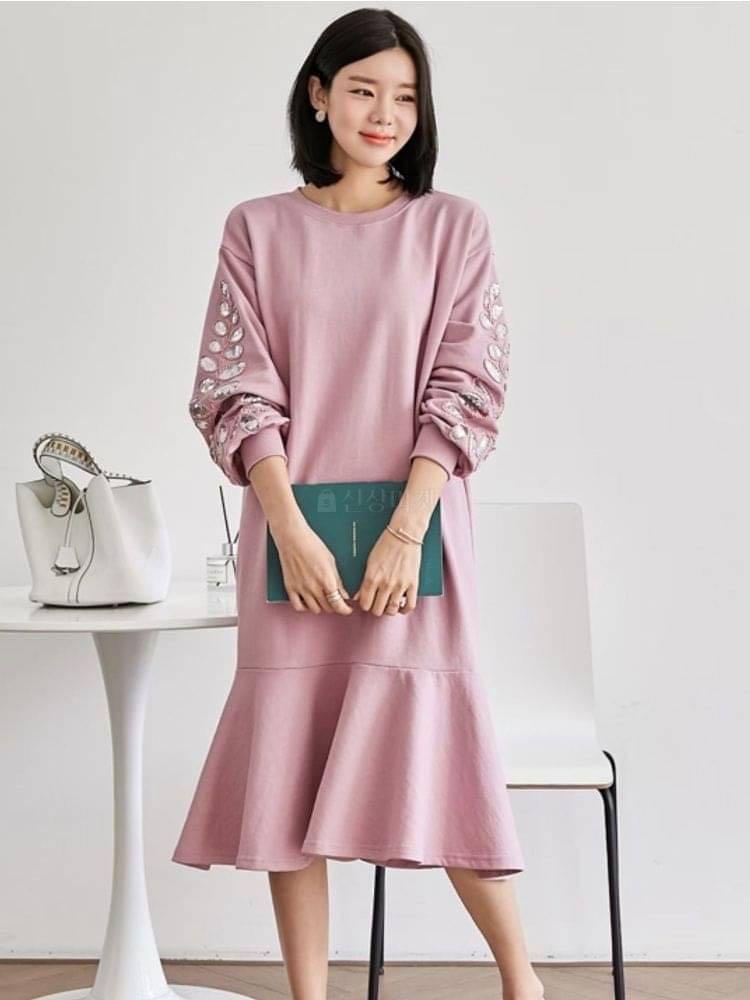 正韓洋裝  立體刺繡亮片洋裝