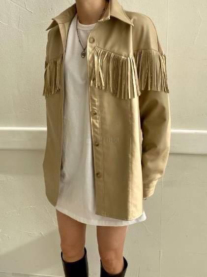 正韓上衣 #正韓外套  設計師品牌流蘇皮質襯衫外套