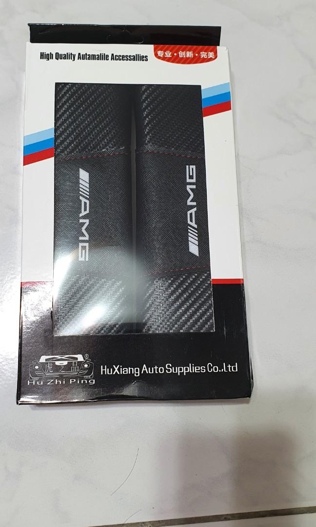 賓士 安全帶護肩 AMG碳纖紋安全帶套 BENZ車飾