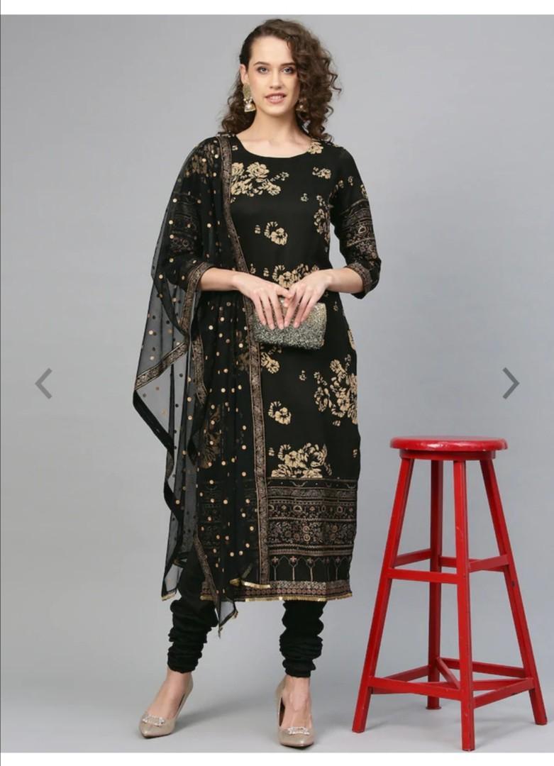 Ahalyaa Women Black & Golden Printed Kurta with Churidar & Dupatta, Product Code: 11080110