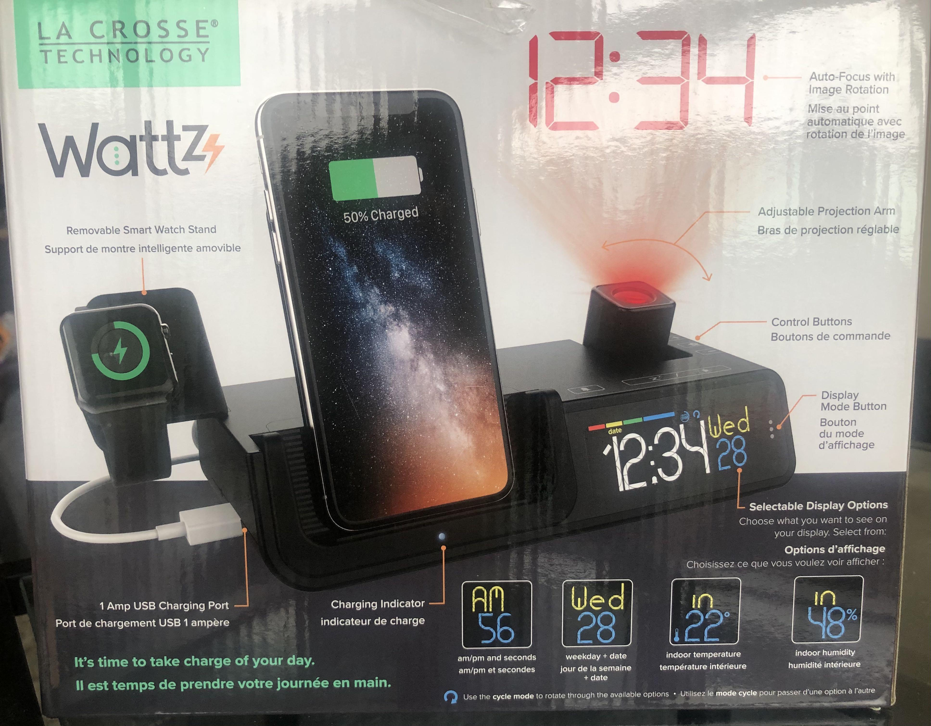 All in one Alarm clock, wireless phone charger and Smart Watch charger