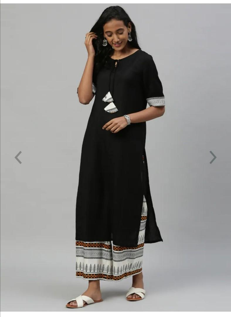 Anouk Women Black Solid Kurta with Palazzos, Product Code: 12562738