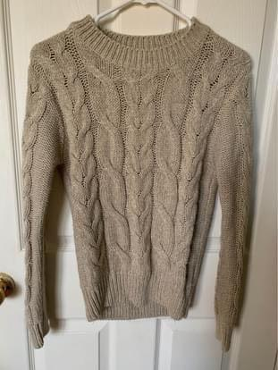 Beige knit sweater pullover fall
