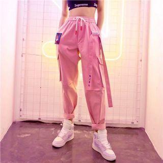 粉色街頭嘻哈直筒工裝褲女bf運動褲