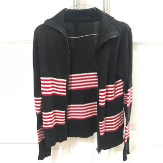 Cardigan Hitam motif stripe