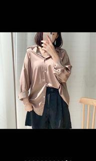 DoubleW 緞面絲綢感襯衫(保留)