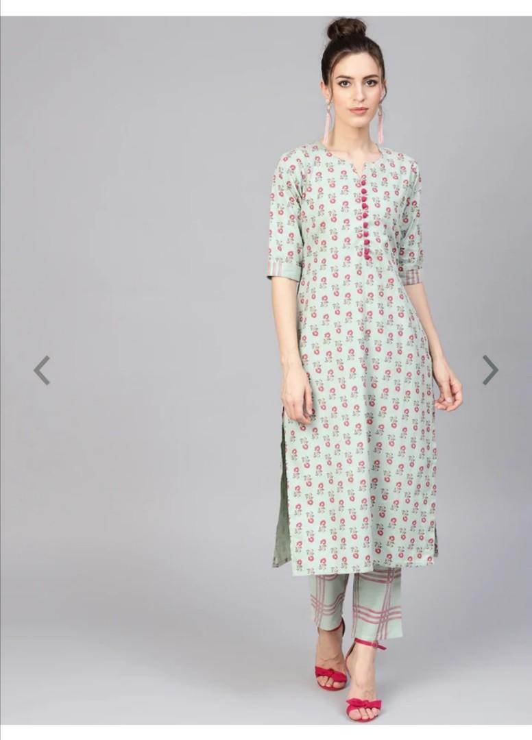 GERUA Women Green & Pink Printed Kurta with Trousers, Product Code: 10178859