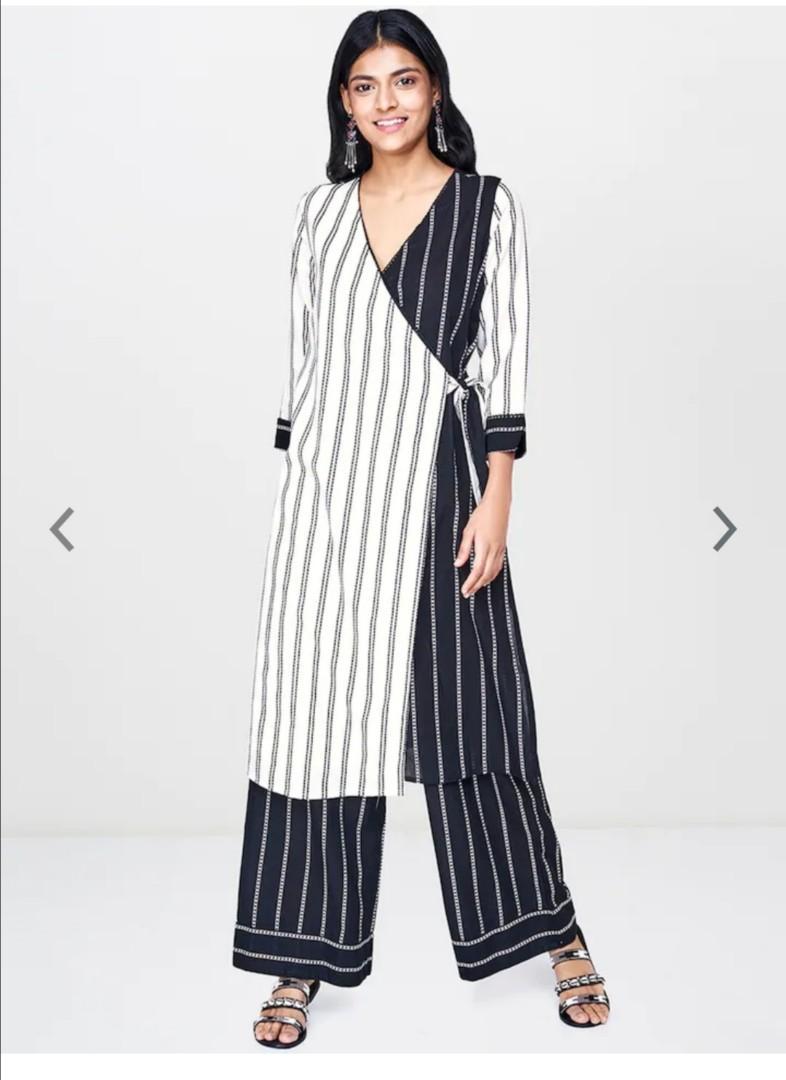 Global Desi Women White & Black Striped Straight Kurta, Product Code: 11283232