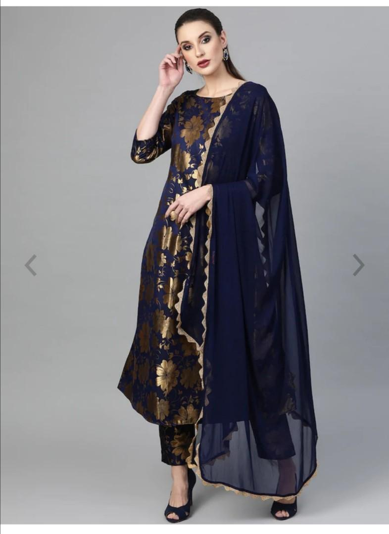 Inddus Women Navy Blue & Golden Woven Design Kurta with Trousers & Dupatta, Product Code: 11066940