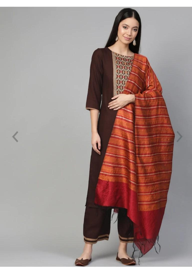 Indo Era Women Brown & Orange Yoke Design Kurta with Palazzos & Dupatta, Product Code: 12122328