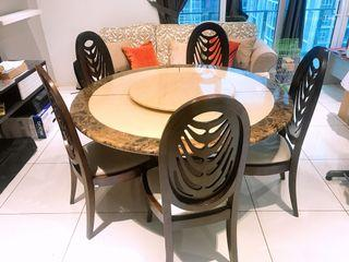 LORENZO DINING SET (A Marble Round Table with 5 Solid Wood Chairs)