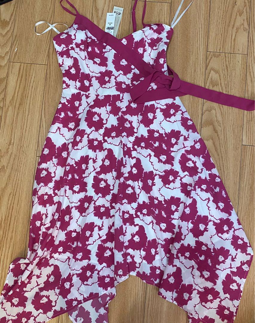 Pink/white dress Banana republic