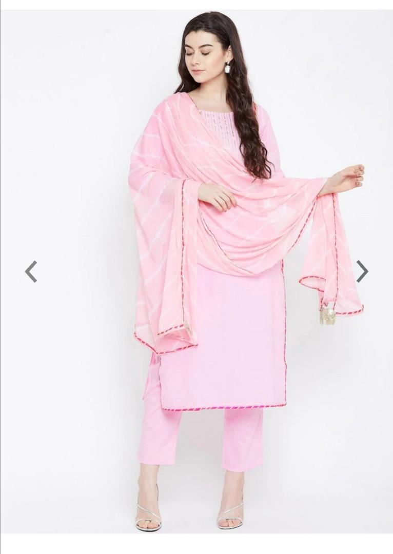 Prakhya Women Pink Self Design Kurta with Trousers & Dupatta, Product Code: 12307502
