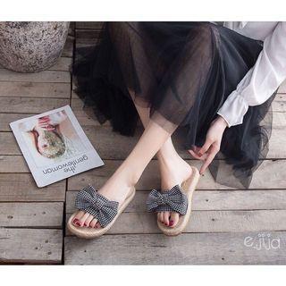 全新 少女系蝴蝶結軟Q編織拖鞋 可愛格子涼拖鞋平底拖鞋 沙灘鞋 #剁手價