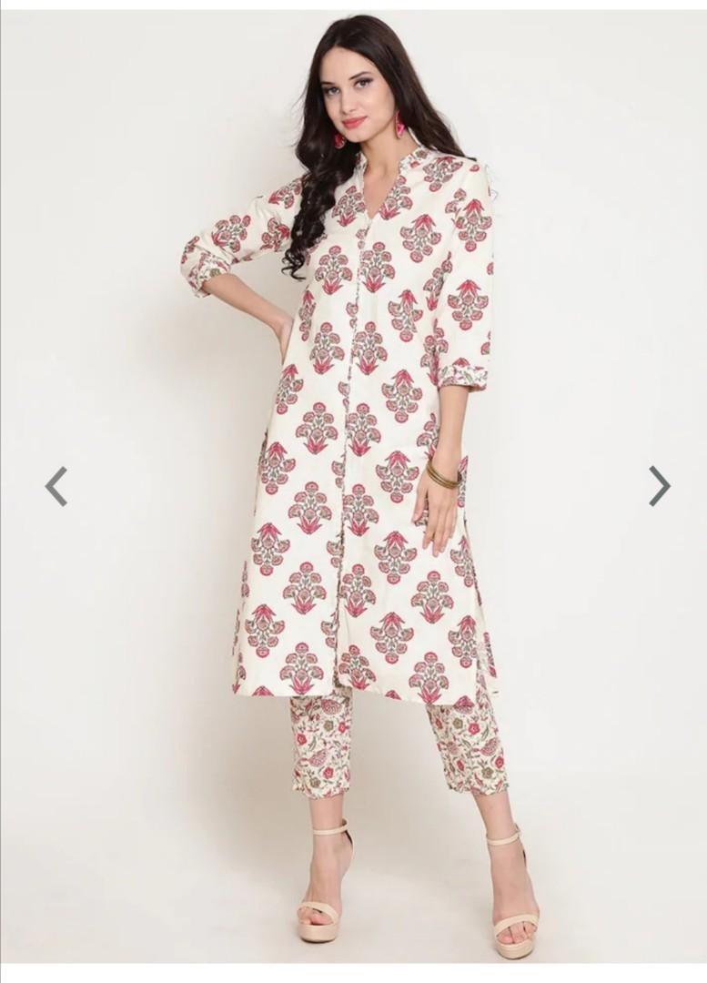 Sera Women Off-White & Pink Printed Kurta with Trousers, Product Code: 11893914