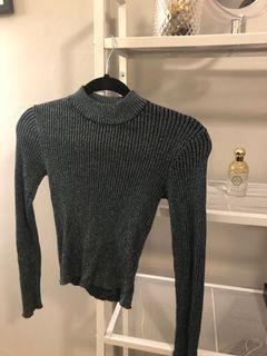 Small Blue shimmery turtle neck crop top