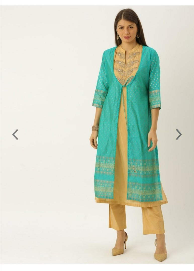Soch Women Green & Yellow Printed Kurta with Trousers, Product Code: 11865140