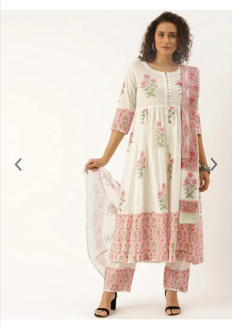 Soch Women White & Pink Printed Kurta with Palazzos & Dupatta, Product Code: 11531340