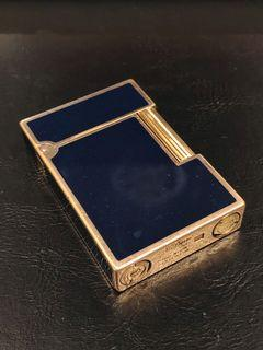 ST Dupont gold plated with dark blue lacquer lighter