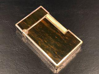 ST Dupont gold plated with brown wood grain lacquer lighter