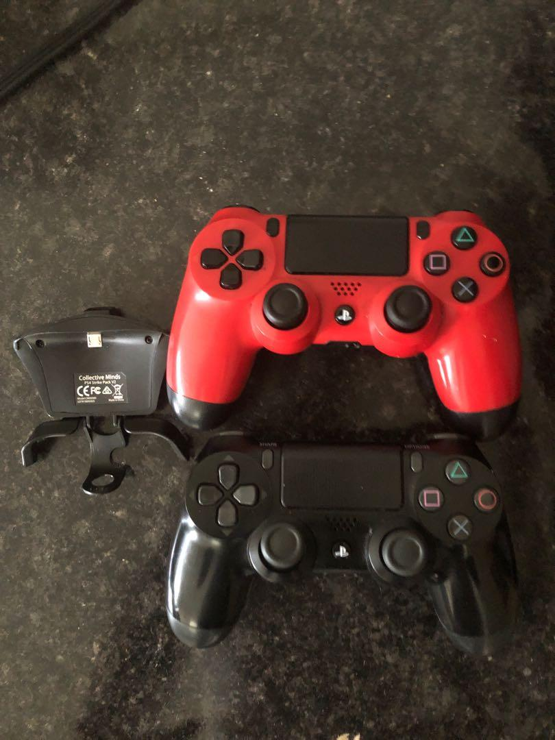 2 PS4 controllers with a strikepack