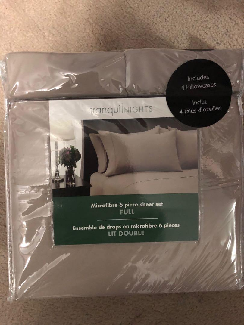 6 Piece Taupe Full Size Sheet Set