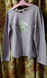 全新條紋星星女童長袖上衣  #二手價