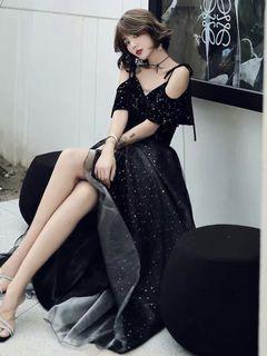 全新黑色氣場女王宴會晚禮服