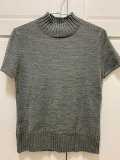 全新 灰色立領針織上衣 毛衣#WATER