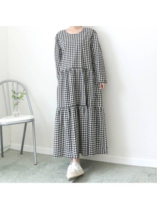 正韓洋裝  #正韓大尺碼  格紋蛋糕裙洋裝
