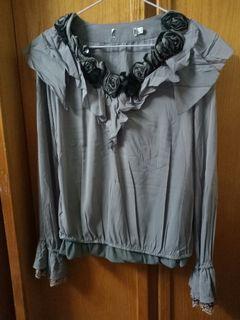 全新設計師品牌蠶絲上衣 L 鐵灰色