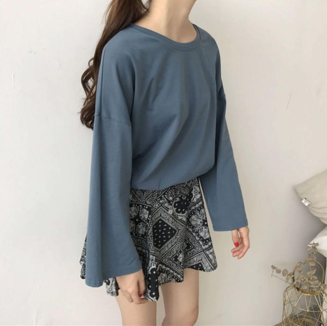 ✨Boxy Crewneck Long Sleeve T-shirt Blue Top