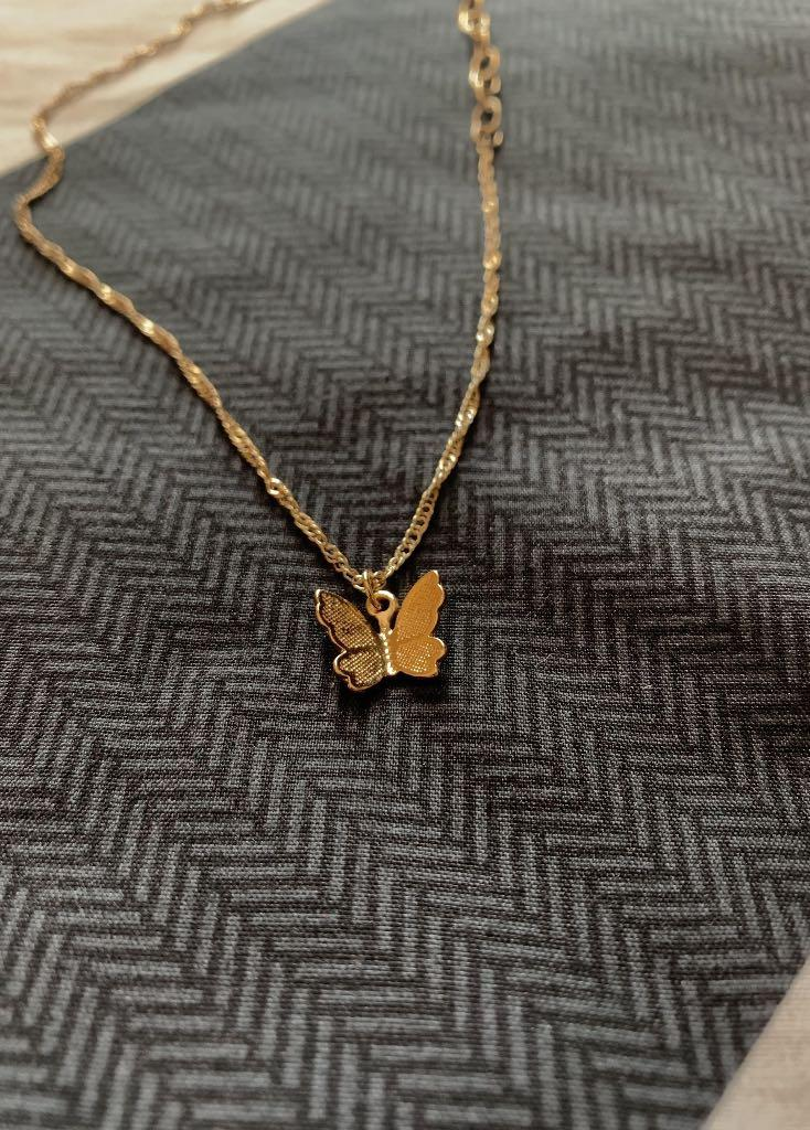 Butterfly 14k gold plated brass Necklace