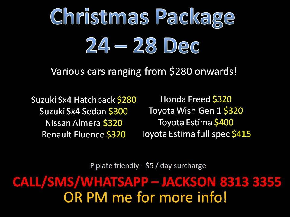 CAR RENTAL NO DEPOSIT Christmas Package 24-28 Dec *P PLATE FREINDLY* (Yishun)