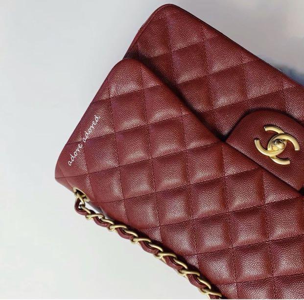 Chanel 18C Iridescent Caviar Red Jumbo